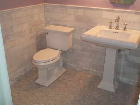 """Bathroom - White and Beige Tile"""